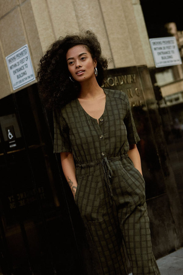 Whimsy & Row Hunter Green Plaid Jumpsuit with drawstring waist