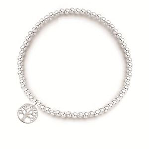 Stirling Silver Elastic Ball Bracelet 3mm with Tree of Life Charm 1.4mm