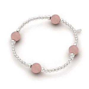 Stirling Silver Elastic Ball Bracelet with Rose 3mm