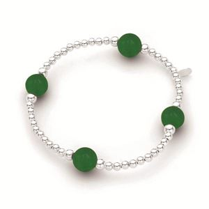 Stirling Silver Elastic Ball Bracelet with Jade 3mm