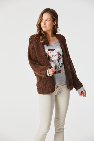 Hand Knit Cardi - Brown - OS