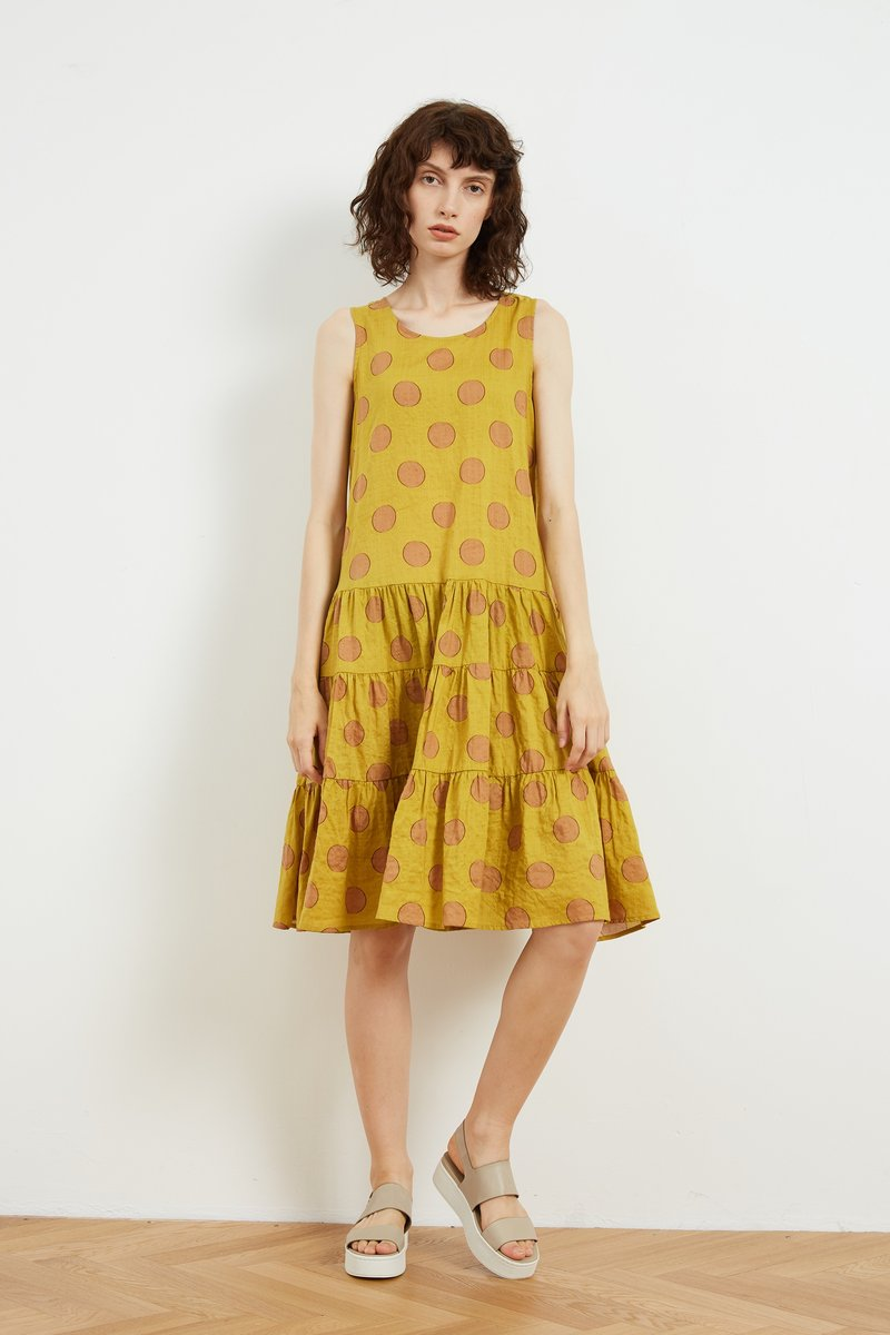 HIgh Neck A-Line Dress Amber Dot