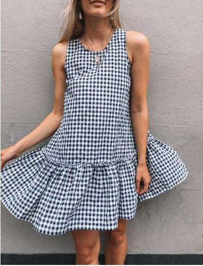 Annie Dress Navy Gingham