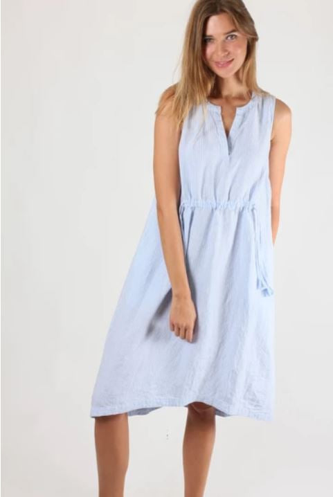 Baby Blue Stripe Sleeveless Dress