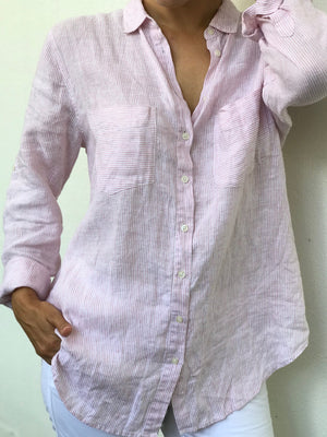The Linen Boyfriend Shirt - Ballerina Pink & White Stripe