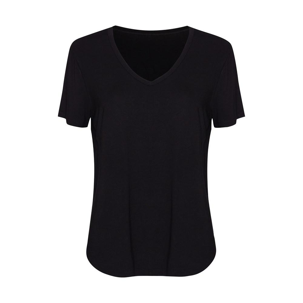 Veronica V Neck Tee - Black