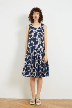 High Neck A-Line Dress - Blue Flora