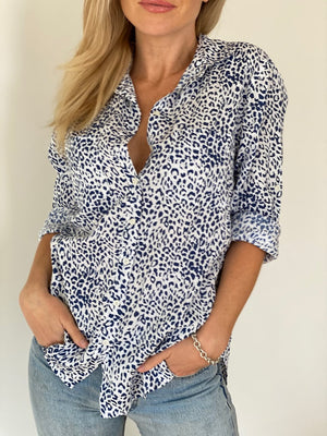 The Boyfriend Shirt - Blue  White Leopard