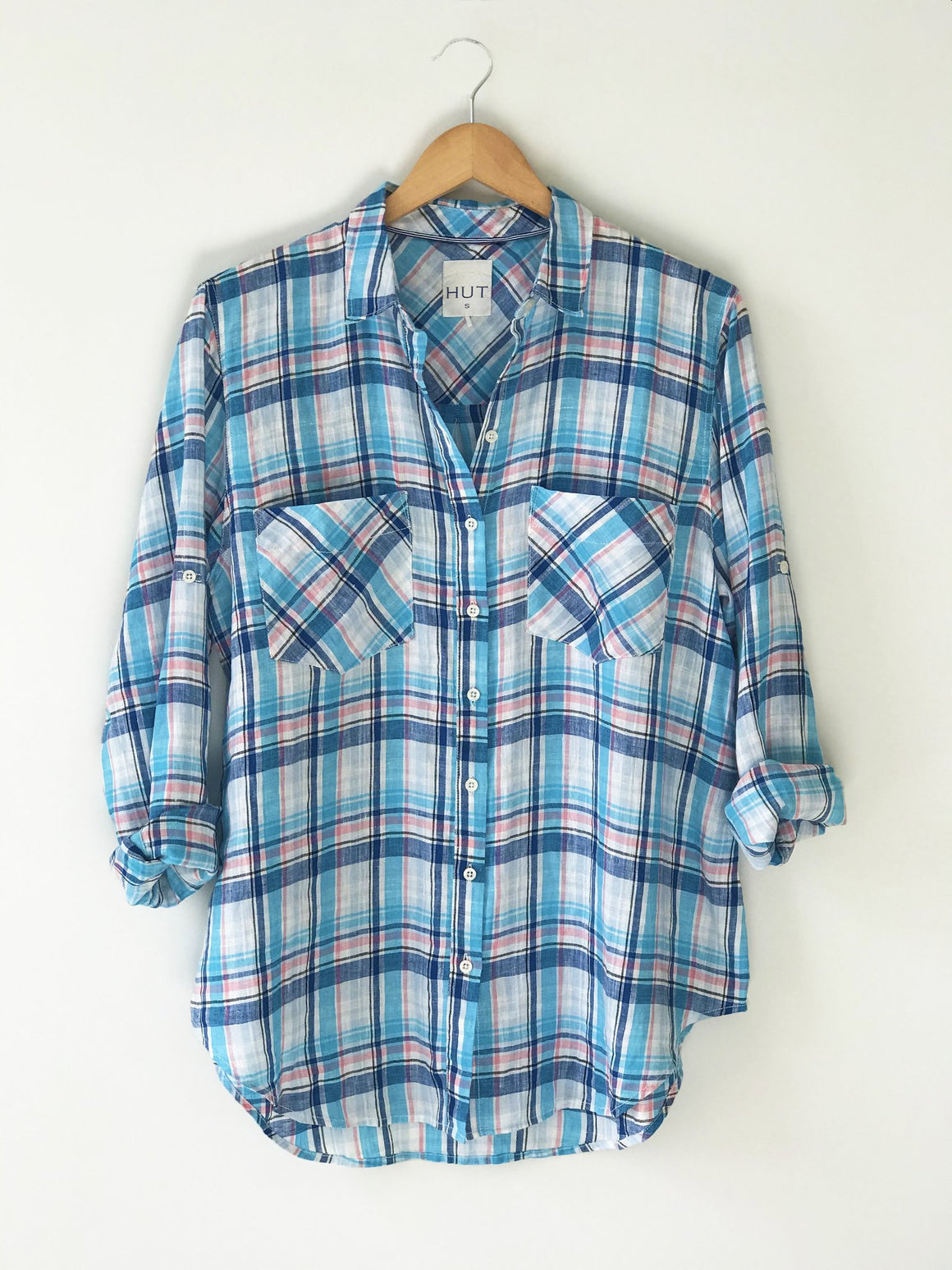 Boyfriend Linen Shirt Blue Plaid