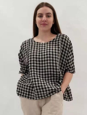 Linen Checkered Top - ML