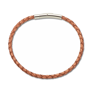 Copper Fine Leather Plaited Bracelet 19cm