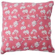Ruby Star Block Printed Linen Cushion - Pink