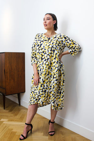Diagonal Seam Print Dress Yellow Navy
