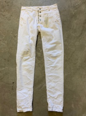 Italian Star Button Up Jeans White