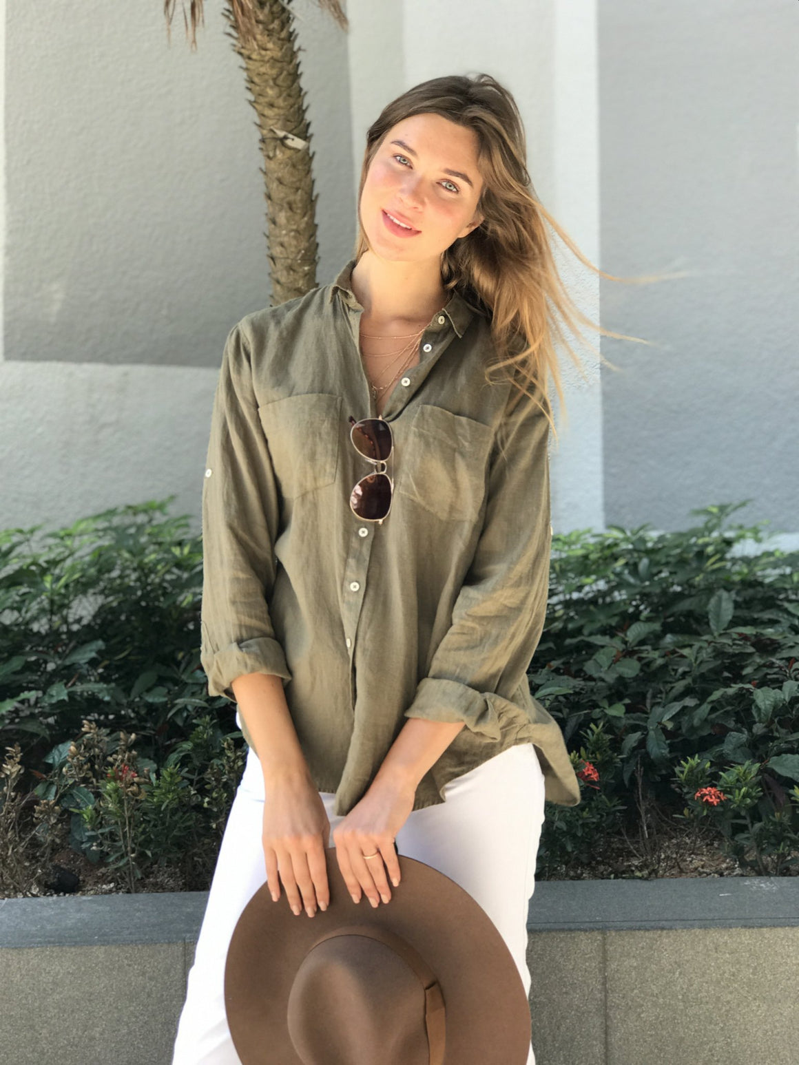 The Linen Boyfriend Shirt Khaki