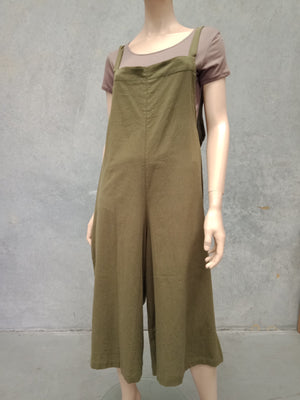 Naturals Wide Leg Jumpsuit - Military Green
