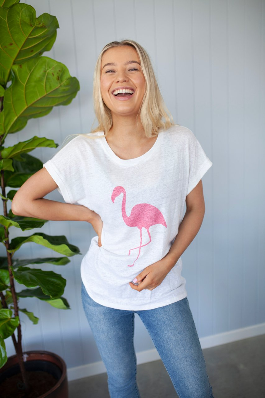Crew Neck Linen Tee Flamingo - White
