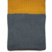 Moss Stitch Throw - Charcoal / Mustard