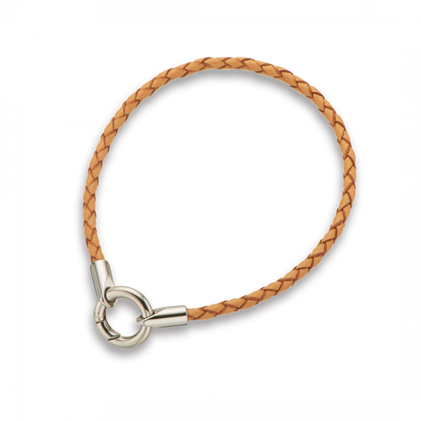 Natural Round Plaited Fine Leather Bracelet 20.5cm