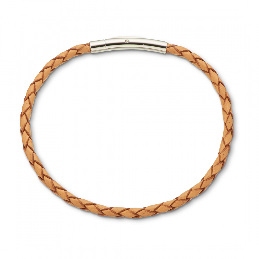 Natural Fine Leather Plaited Bracelet 19cm