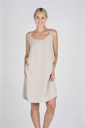 The Nightie Dress - Linen - Natural - M/L