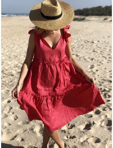 Ostuni Dress - Raspberry & Navy