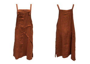 Linen Pinafore - Rust - SM