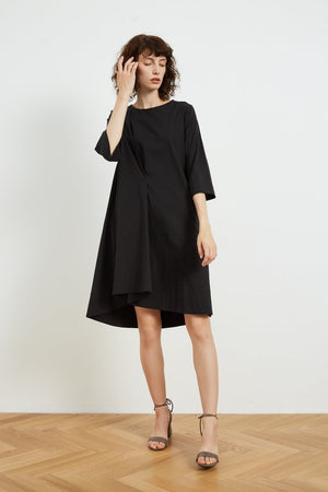 Tirelli Pleated Line Dress - Black