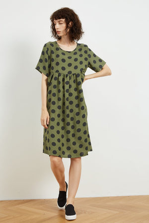 Pocket Seam Dress - Green Black Spot