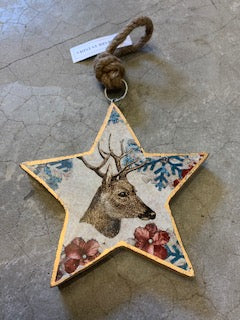 Timber Reindeer Star -Large - Multicolour 16 x 16cm