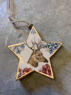 Timber Reindeer Star - Small - Multicolour 10 x 10cm