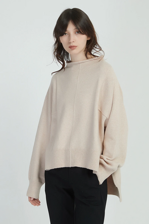 Relaxed High Neck Knit Champagne Pink