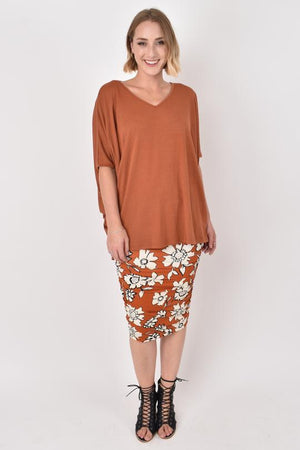 Hi-Low Miracle Top In Textured Rust - OS