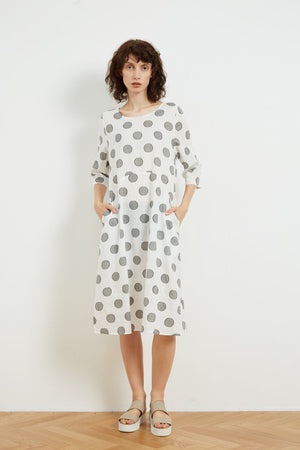 Scoop Neck Long Sleeve Dress - White Dot