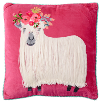 Ruby Star Embroidered Sheep Cushion - Fuchsia Multi