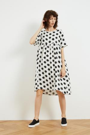 Pocket Seam Dress White Black Spot