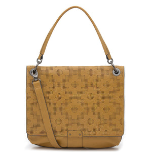 Tapestry Perforated Large Satchel Yellow