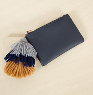 Tassel Zippy Purse Navy + Grey