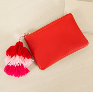 Tassel Zippy Purse Red + Pink