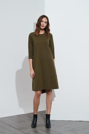 Woven Back Dress - Moss