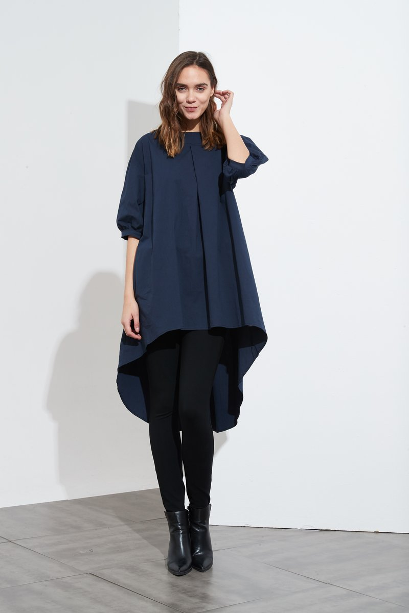 Tuck Front Tunic Navy