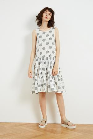 High Neck A-Line Dress White Dot