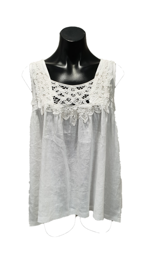 White Linen Top with Neck Detail