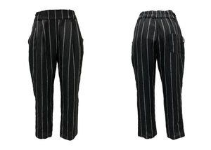 Black Linen Stripe Pant L/XL