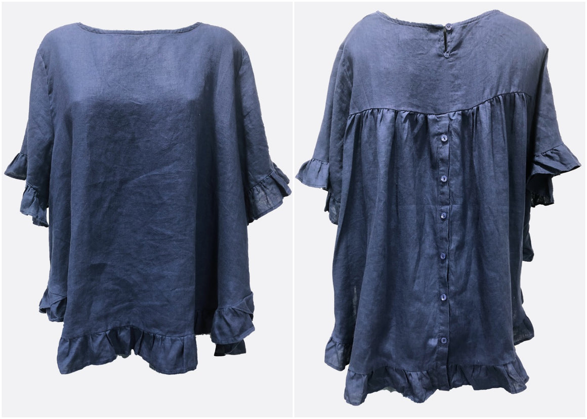 Linen Button Back Top Navy