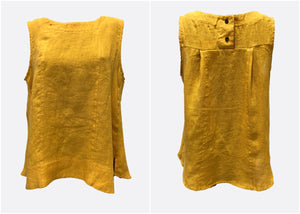 Worthier Sleeveless Linen Top Mustard