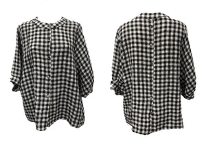 Check Linen Top - Button Front & Back - SM