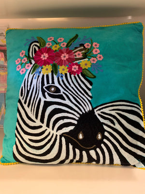 Ruby Star Velvet Embroidered Zebra Cushion
