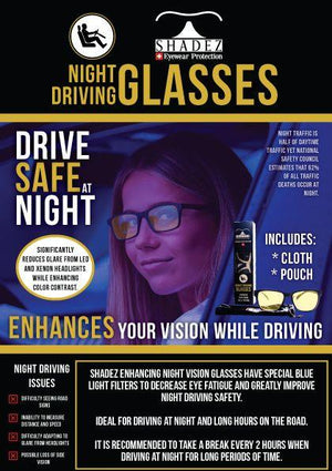 SHADEZ Adult Night Driving White Glasses