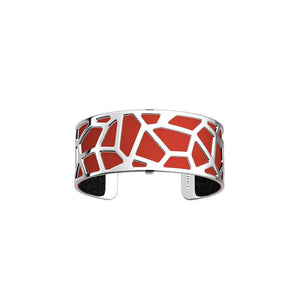 Girafe Bracelet 25mm, Silver Finishing - Black Glitter / Red
